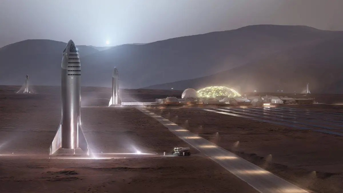 spacex starship steel mars colony city greenhouses space colonization elon musk twitter D5UXU0LUEAEEXSk