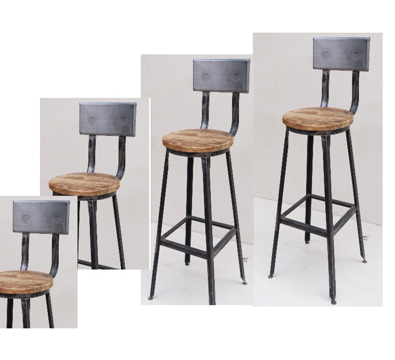 lot de 4 chaises de bar metal atelier