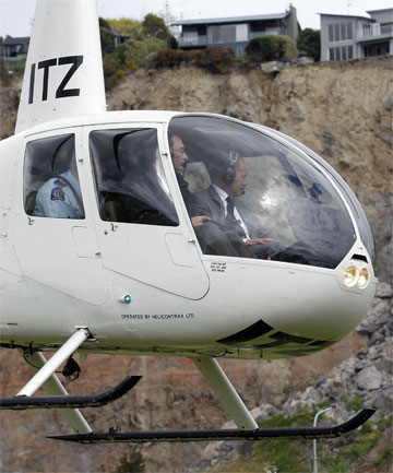 'SOBERING': Governor-General Sir Jerry Mateparae makes an aerial tour of Redcliffs.