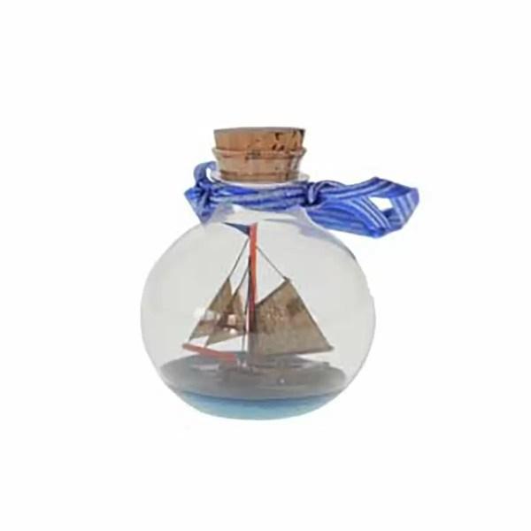 Hajó üveggömbben 7 cm Hajómakett üvegben