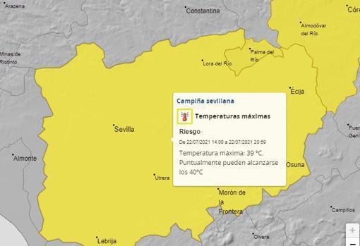 Previsión de aviso amarillo por calor para este jueves