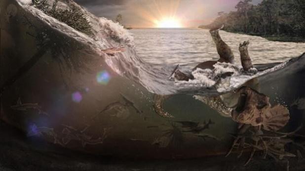 La ilustración muestra olas gigantes causadas por el impacto
