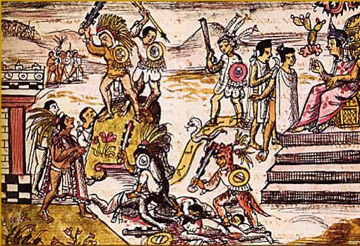 Representación de varias armas aztecas