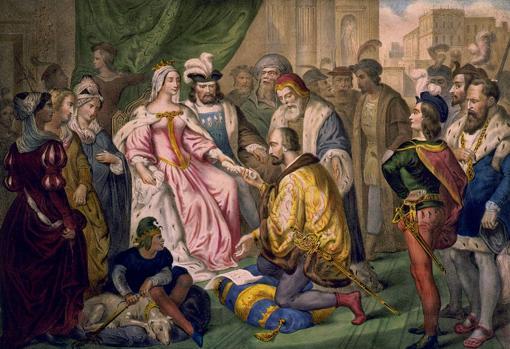 Cristóbal Colón ante los Reyes Católicos en la corte de Barcelona