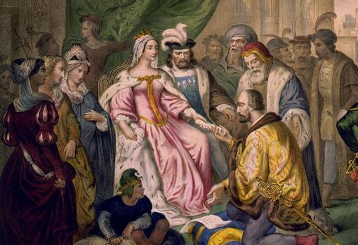 Cristóbal Colón ante los Reyes Católicos en la corte de Barcelona.
