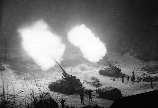 A pair of M40 GMCs giving fire support to the 25th Infantry Division of the United States Army.
