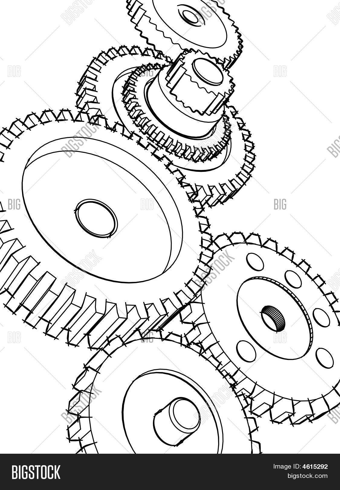 Gear Sketch Image Amp Photo Free Trial