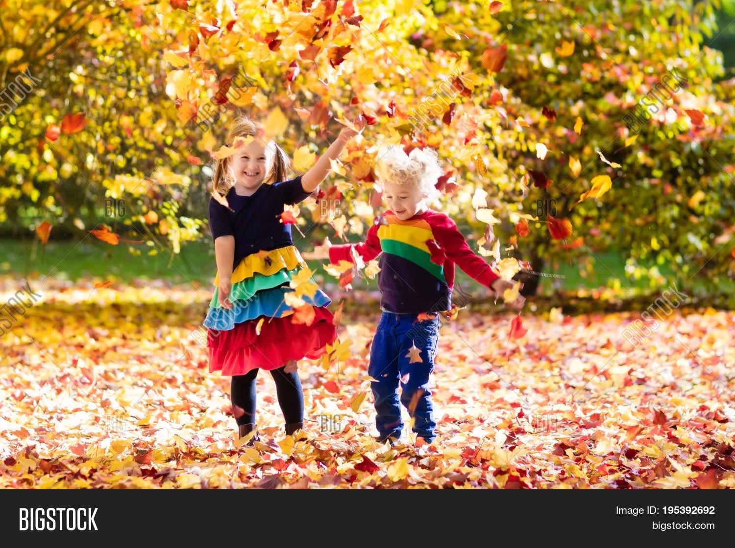 Kids Play Autumn Park Image Amp Photo Free Trial