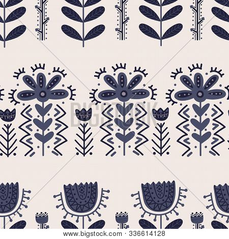 Folklore Floral Nordic Scandinavian Pattern Vector Frame Ethnic