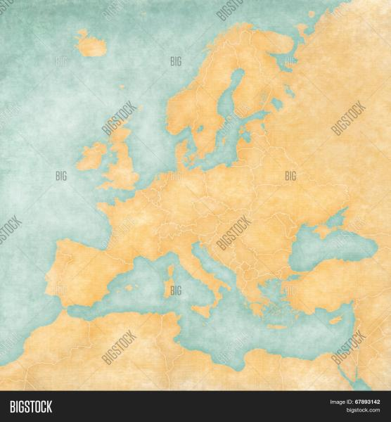 Blank Map Europe  Map Image   Photo  Free Trial    Bigstock Blank map of Europe  The Map is in vintage summer style and sunny mood