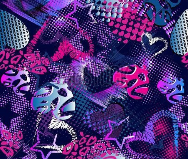 Abstract Grunge Sport Pattern Children For Girls And Boys Creative Vector Sport The Background With Dots Hearts Lines Stars Funny Heart Wallpaper For