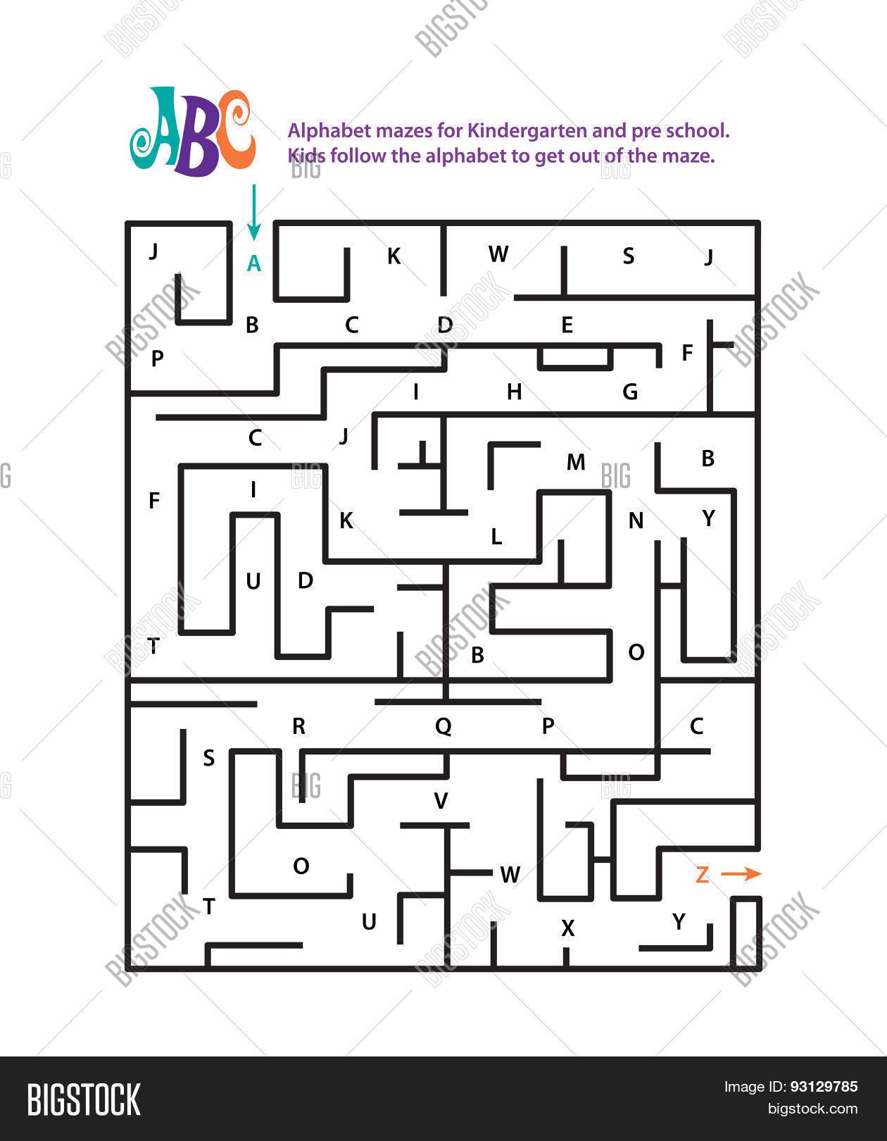 Alphabet Mazes Kindergarten Pre Vector Amp Photo