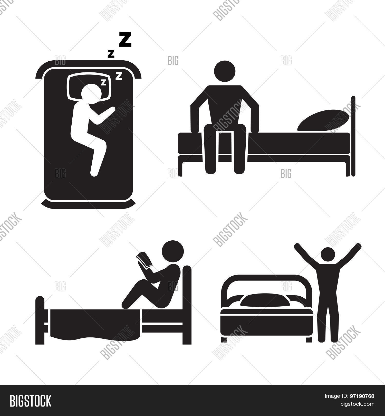 Person Bed Icons Hotel Sleep Vector Amp Photo