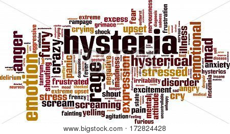 Hysteria word cloud concept. Vector illustration on white