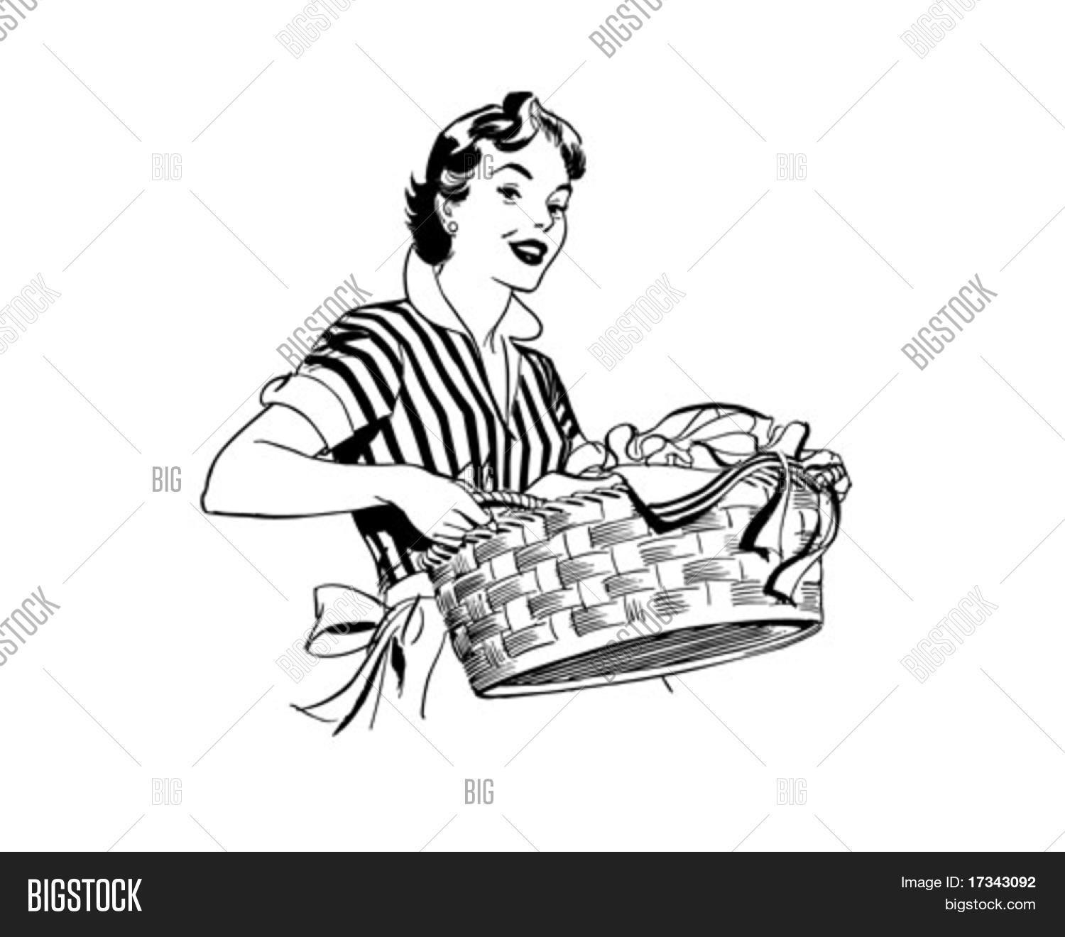 Lady With Laundry Basket