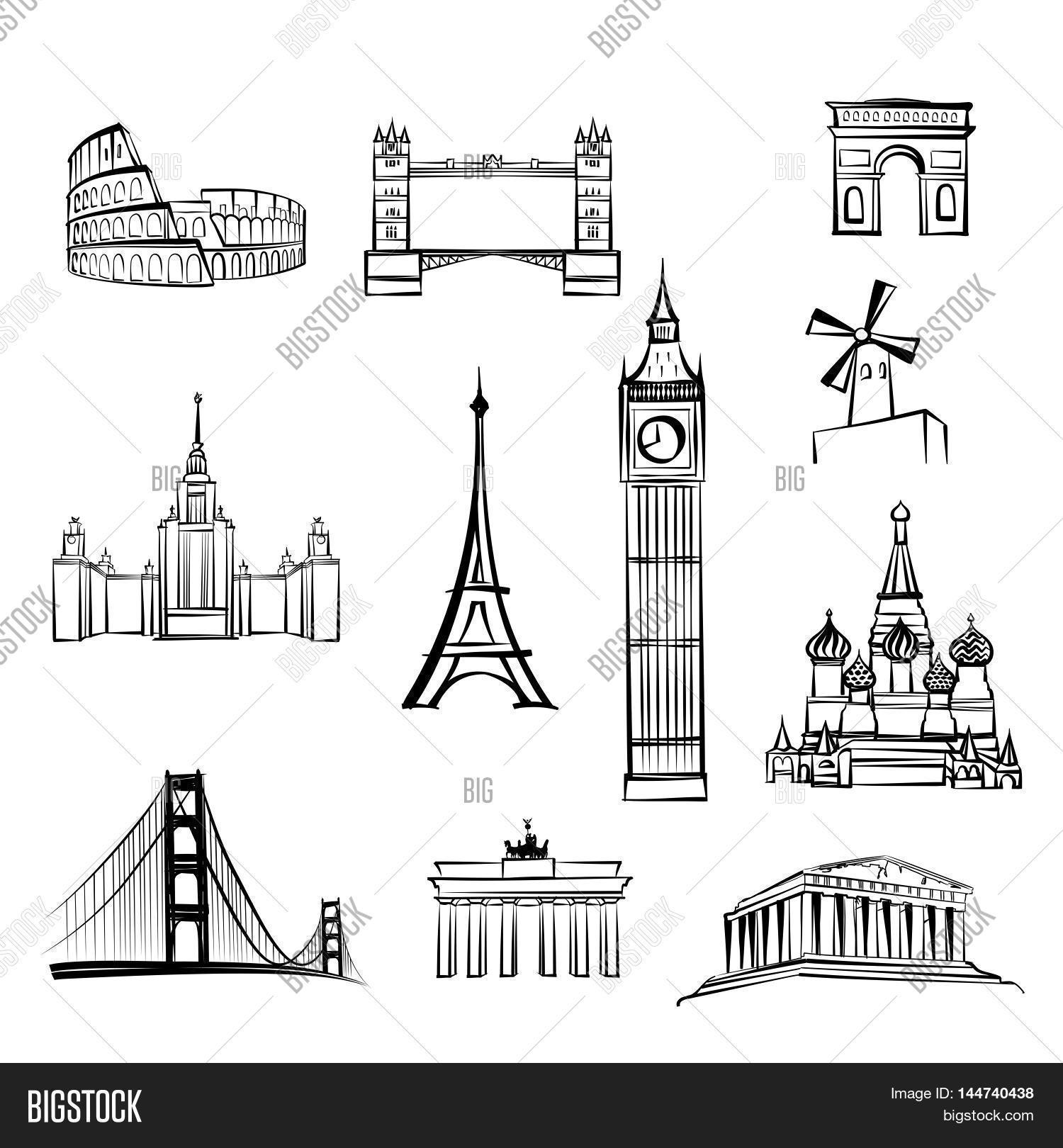 World Tourist Attractions Symbols Vector Amp Photo