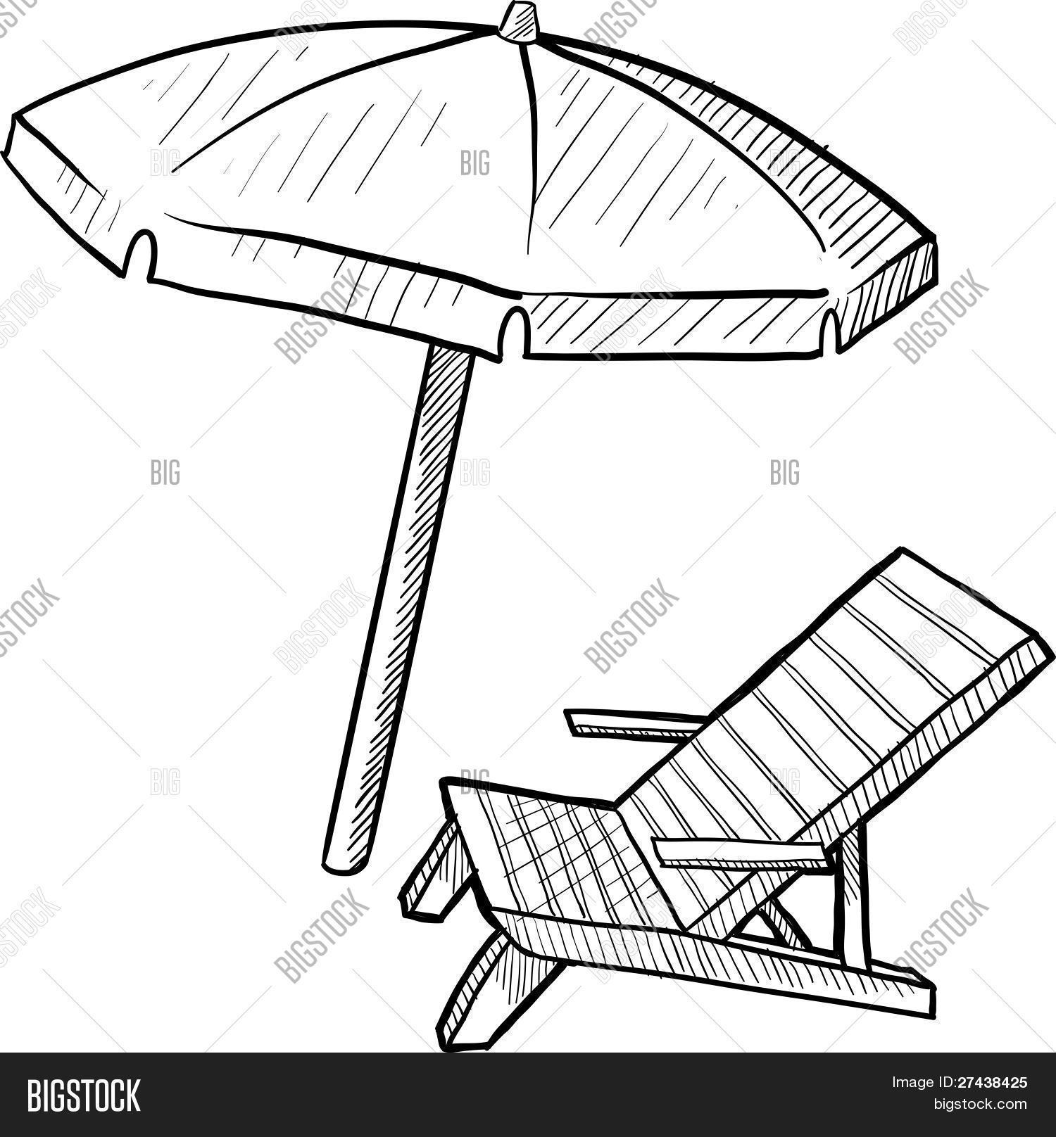 Beach Chair And Umbrella Sketch Stock Vector Amp Stock