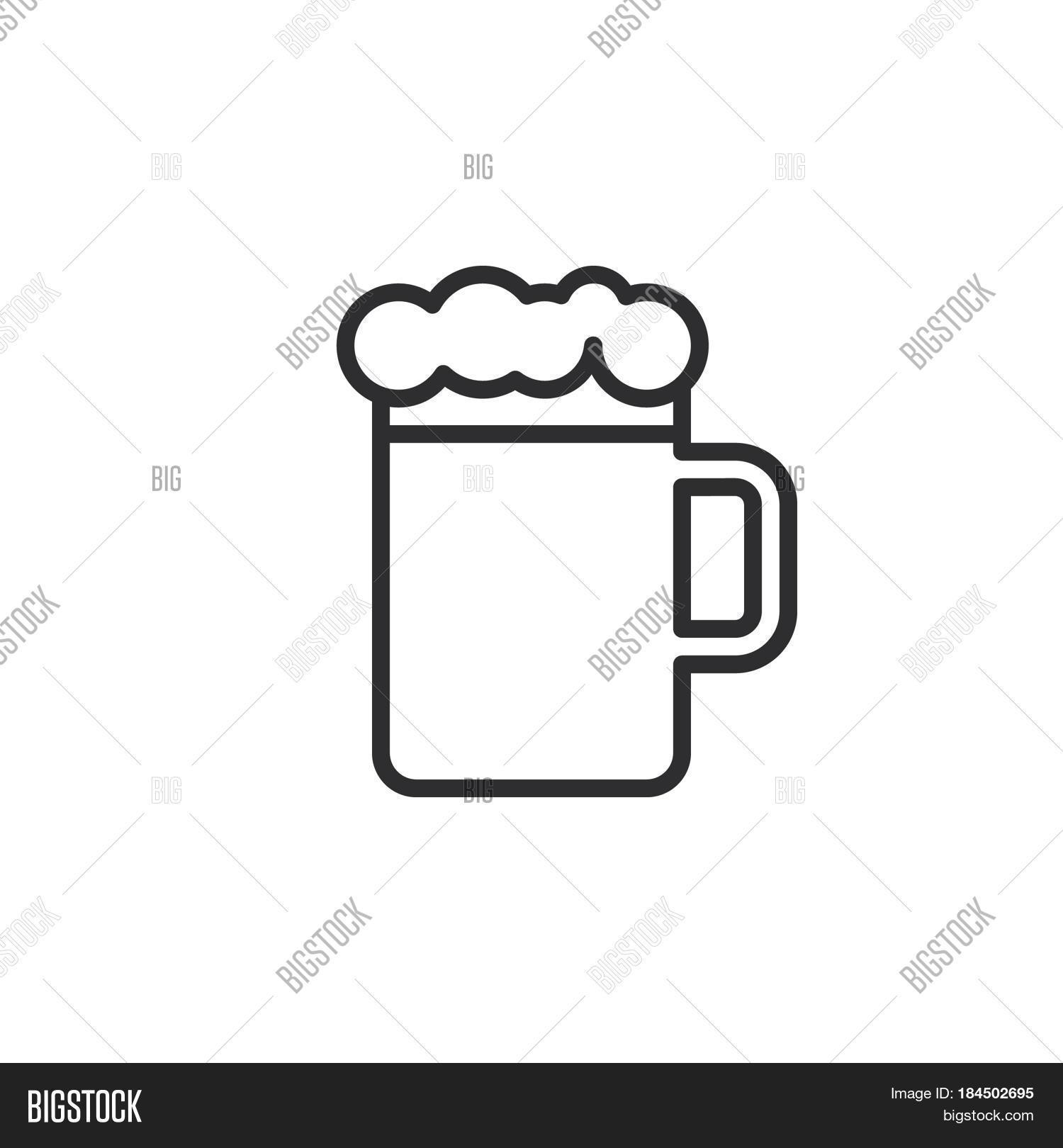 Beer Mug Foam Line Icon Outline Vector Amp Photo