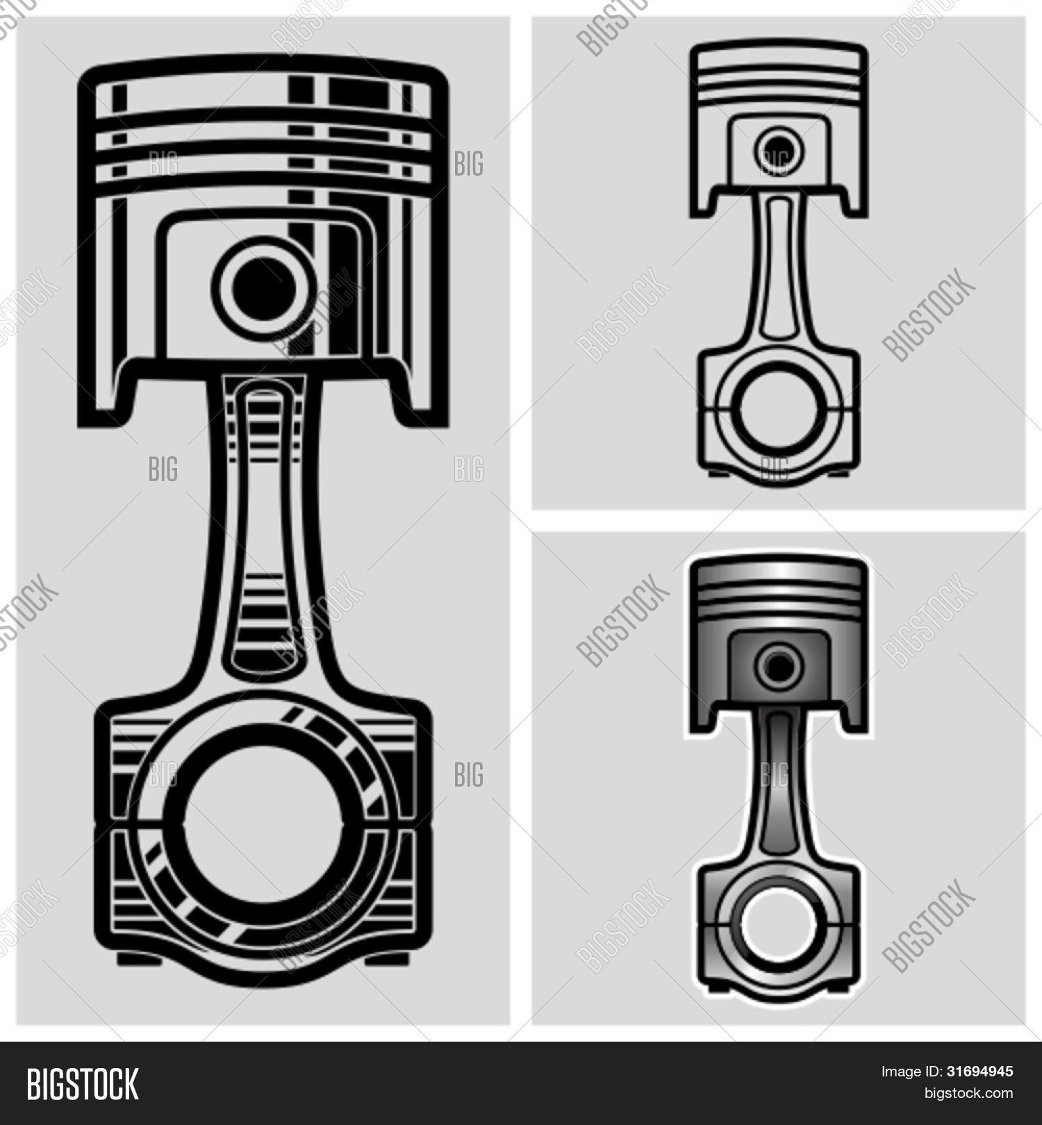 Car Engine Piston Vector Vector Amp Photo