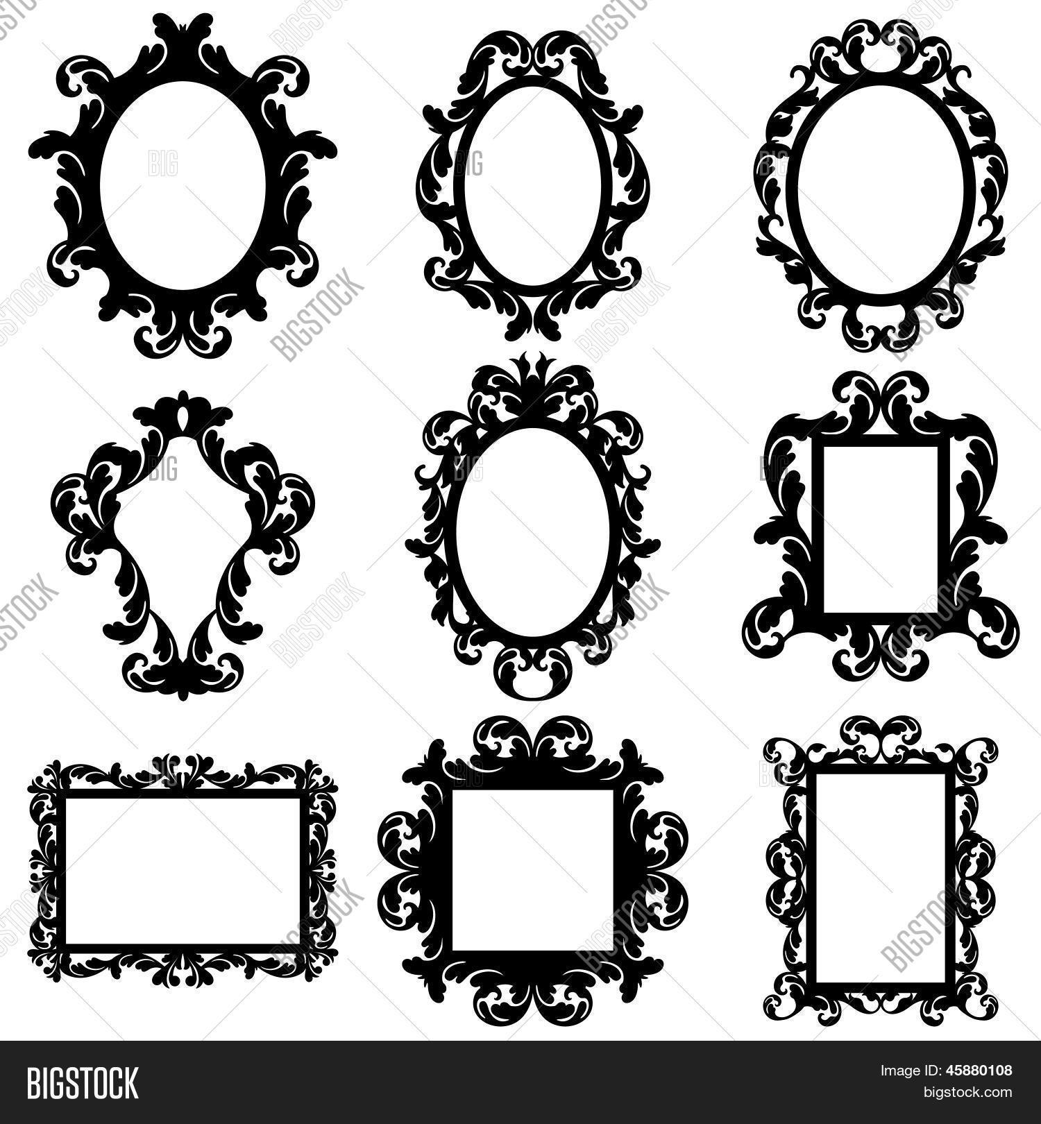 Vector Set Baroque Frame Vector Amp Photo