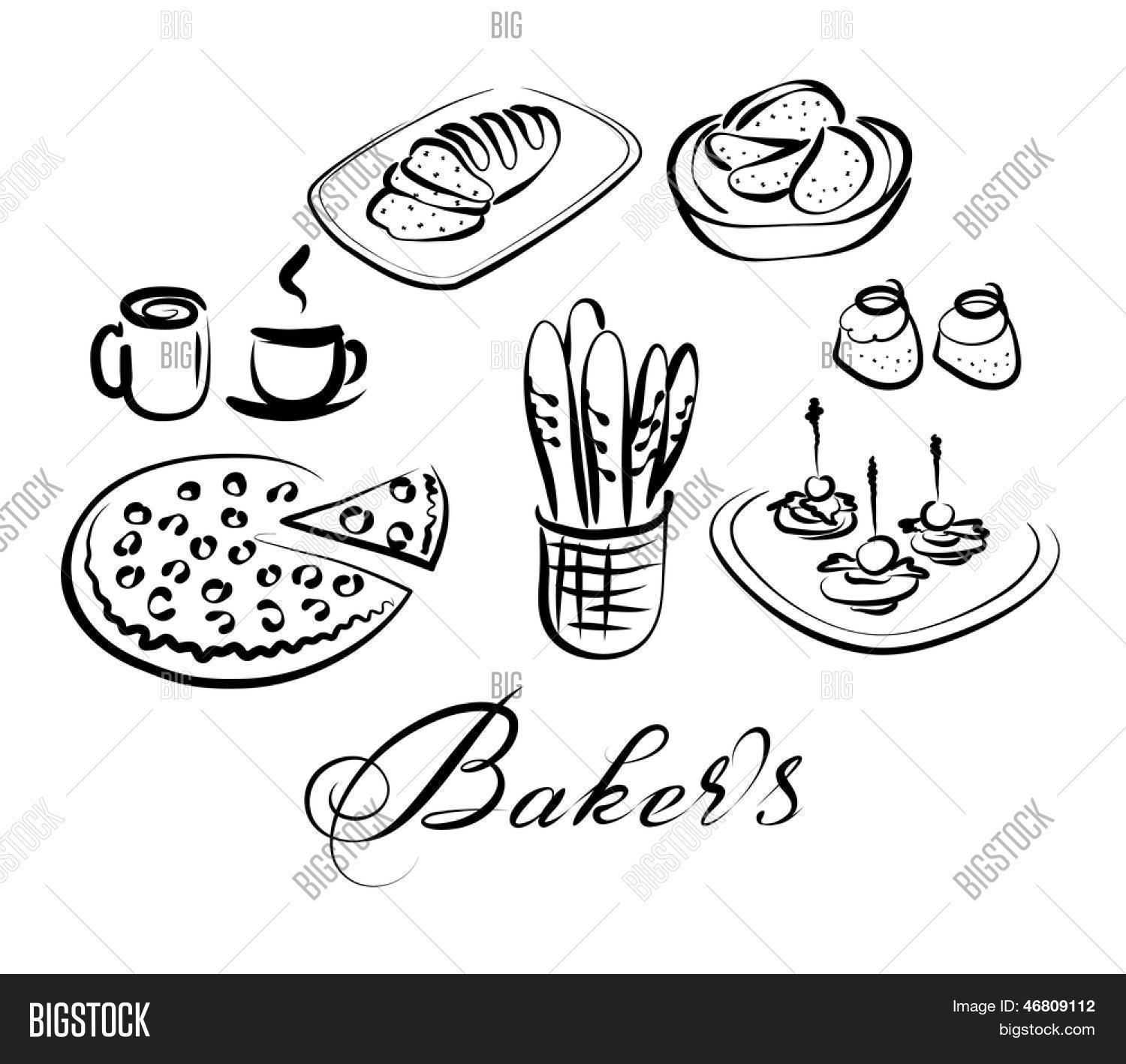 Food And Drinks Vector Icon Set Baker S Theme