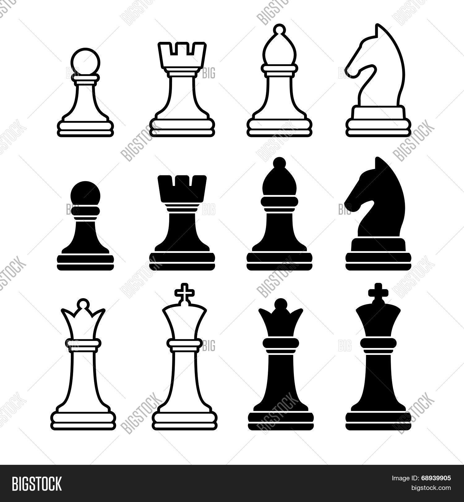 Chess Pieces Including King Queen Vector Amp Photo