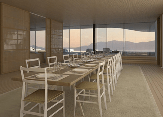 The dining room (with the nice views of the Mediterranean in the back)