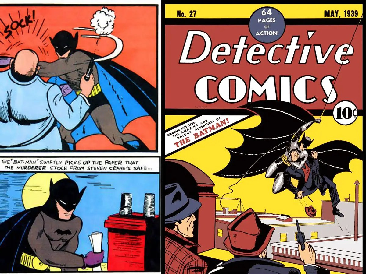 May 1939: Batman's first appearance in Detective Comic 27 – Batman wore a bulletproof vest under his suit and had purple gloves. He also wore a standard belt with a round buckle.