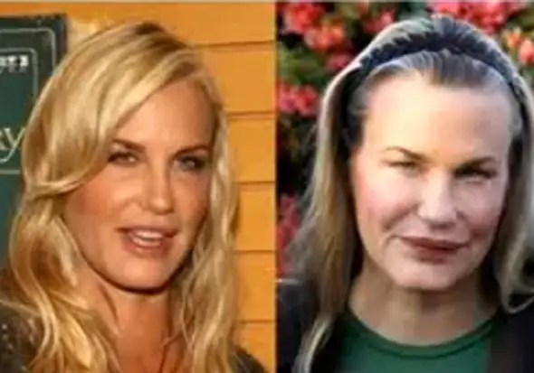 """""""Splash"""" actress Daryl Hannah, 51, denies ever having plastic surgery and says it makes people """"look like Muppets."""" But her lips and cheeks look fuller."""