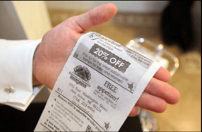 Each roll has a series of eight images—seven for companies, one explaining how to redeem the coupon—that is repeated 120 times on a 100-sheet role.