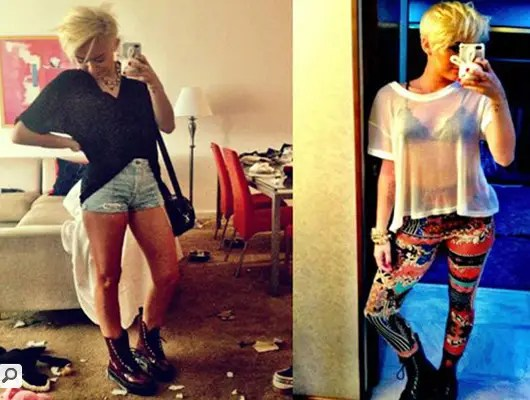 August 2012: Miley Cyrus uses her Apple iPhone (in a bunny case) to show fans her new hair cut and color.