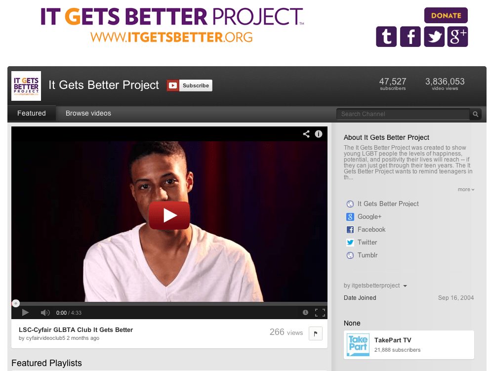 """October 2010: Columnist and activist Dan Savage uses YouTube to launch the """"It Gets Better"""" campaign on YouTube to send messages of hope to LGBTQ teenagers who felt bullied or ostracized because of their sexuality. The campaign ended up going viral, and even President Barack Obama participated."""