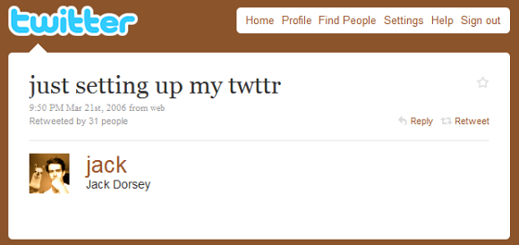 The first tweet was written by co-founder Jack Dorsey on March 21, 2006.