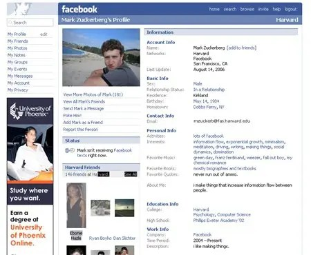 Mark Zuckerberg's profile in 2006.