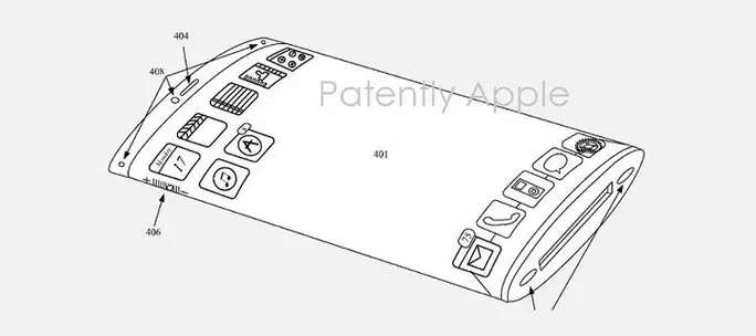 wraparound iphone screen patent from Apple