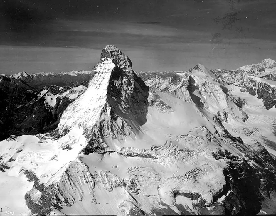 THE ALPS BEFORE: Matterhorn, one of Europe's tallest peaks, located in the Alps on the border between Italy and Switzerland, is pictured with a blanket of snow and ice on August 16, 1960.