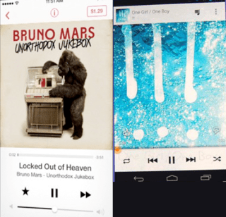 Apple changed the color scheme and interface in Music to look an awful lot like Google's Music for Android.