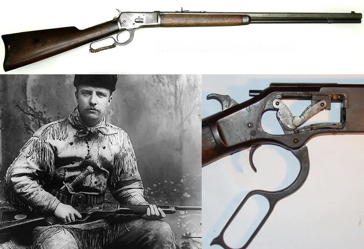 "The Winchester Rifle — ""The Gun That Won The West"" was one of the first repeating rifles and a favorite of Teddy Roosevelt, pictured with the gun below. It fired the same type of ammunition as the Colt revolver, but with a much heftier punch."