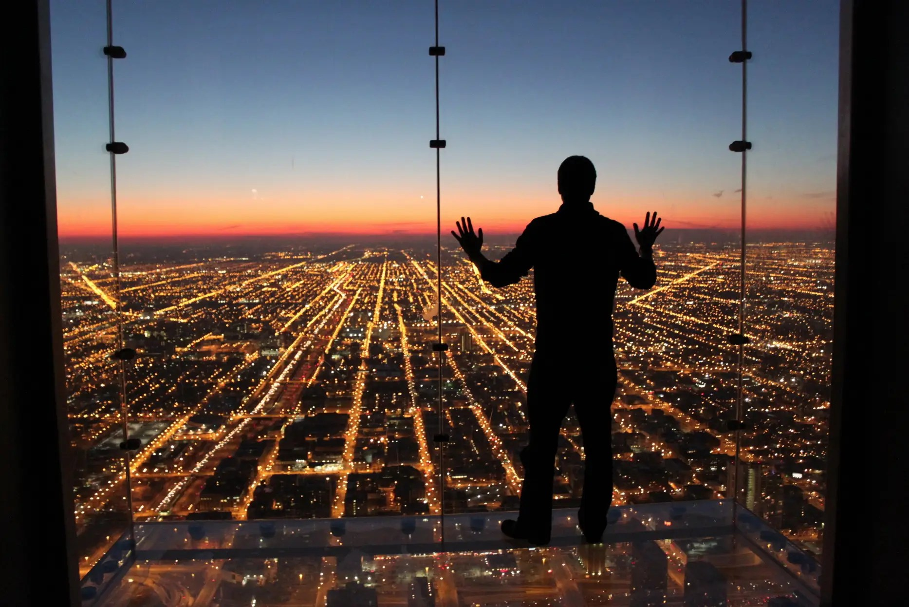 A sunset at the skydeck of the Willis Tower in Chicago, Illinois.