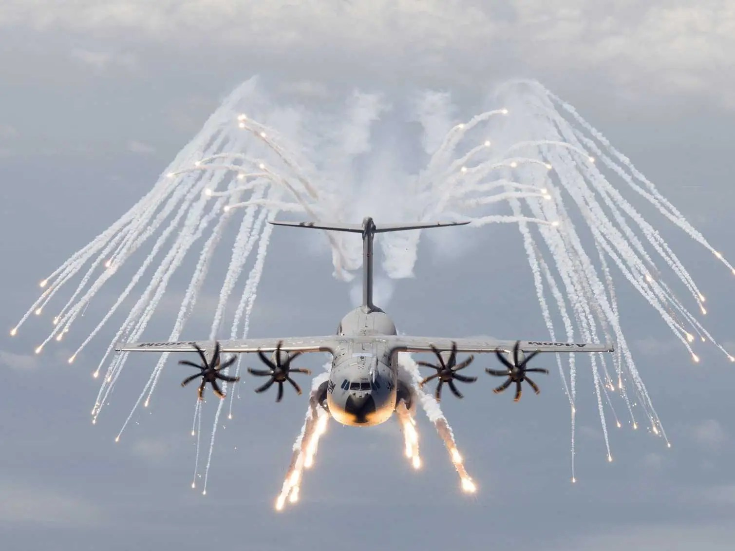 Airbus A400M military transport cargo plane flares