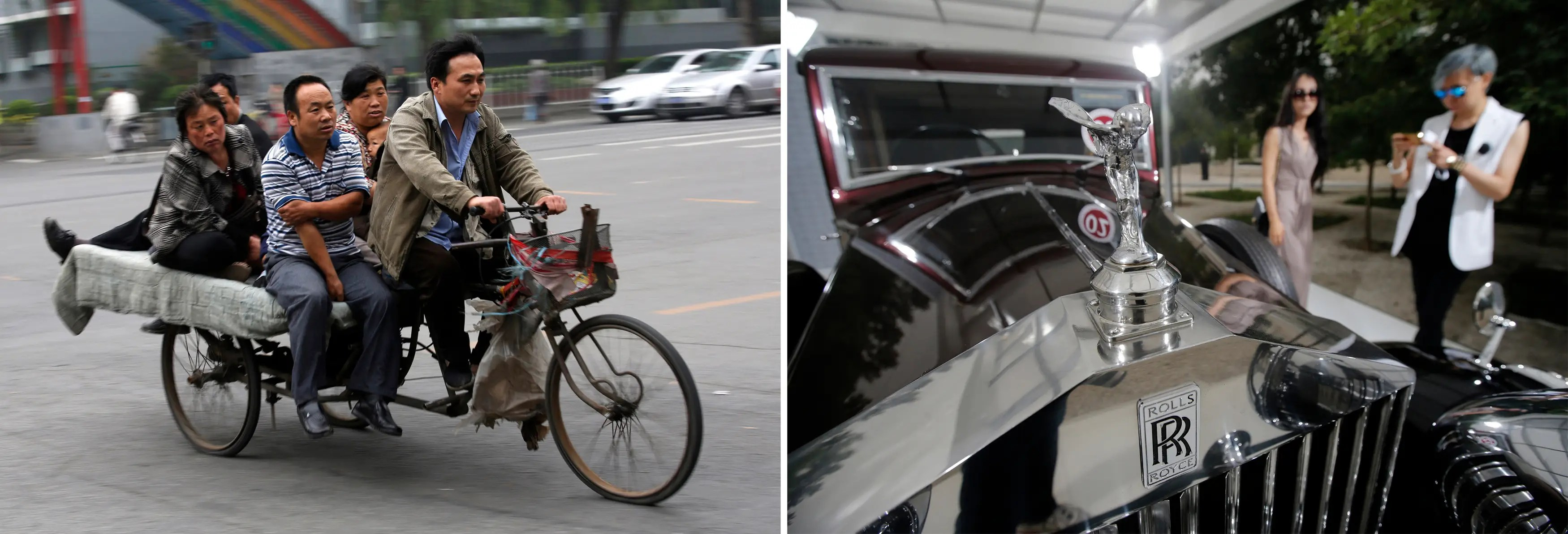 """""""A combination photograph shows (L) a man carrying family members as passengers on his electric tricycle cart in Beijing and (R) visitors look around Rolls-Royce's vintage car during the Rolls-Royce's Concours d'Elegance event for celebrating its ten years business in China."""""""