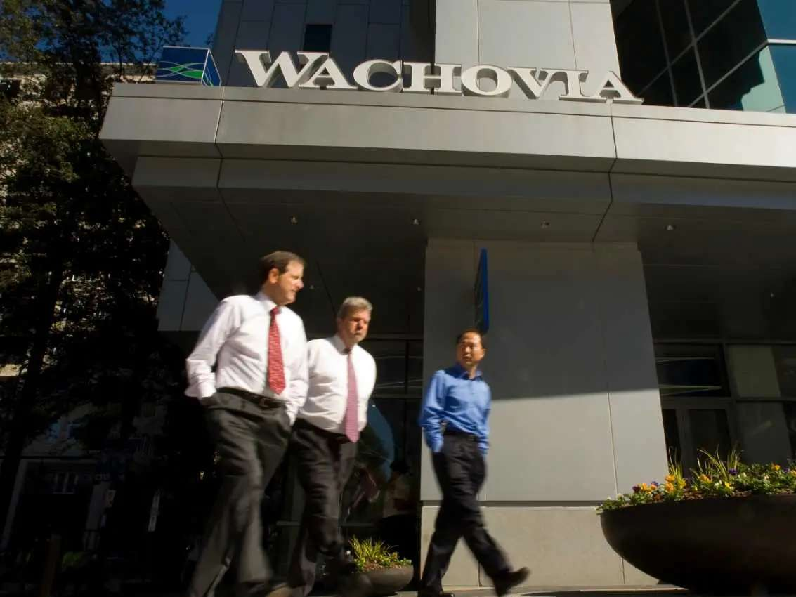 FALL 2008: Longstanding banking giants like Wachovia and Washington Mutual begin to disappear as they are bought by other banks for pennies on the dollar.