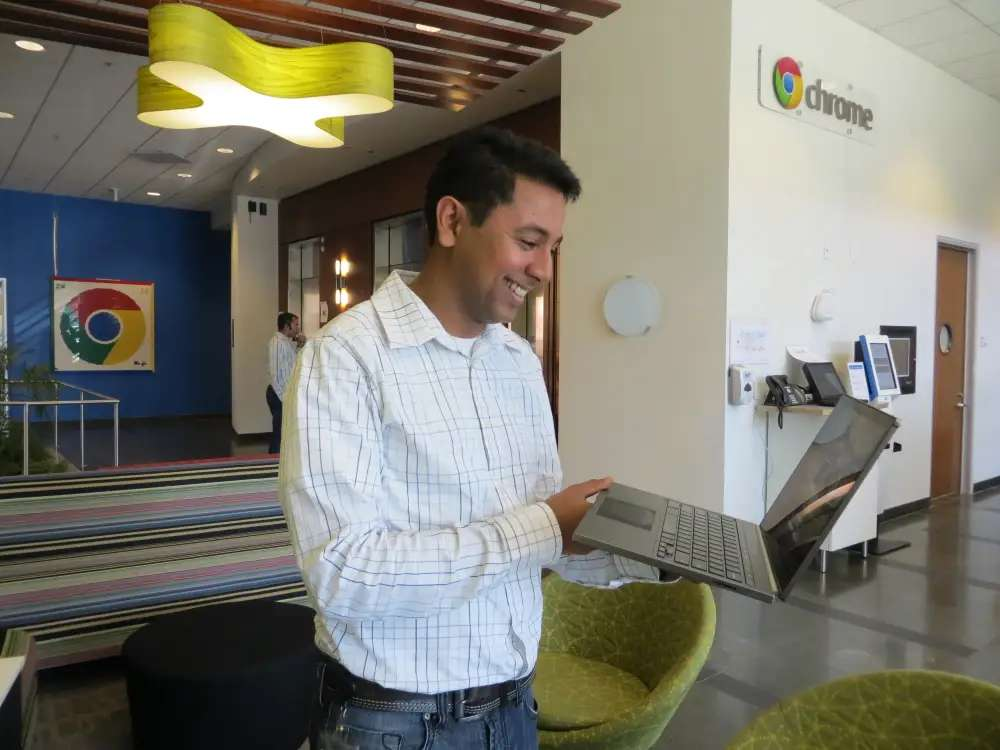 This was one of the few indoor pics we were allowed to take in the Chrome building. Note the Chrome artwork on the walls. This is Caesar Sengupta, VP of Chromebooks with a Pixel notebook.