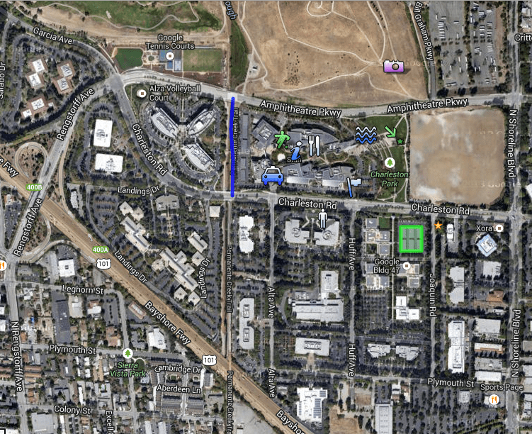 The Googleplex is composed of scores of buildings that sprawl across Mountain View, Calif. At the top are tennis courts, at the south end is the 101 freeway.