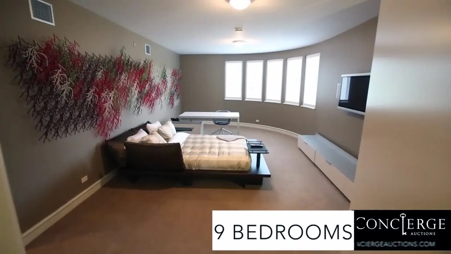 There are nine bedrooms.