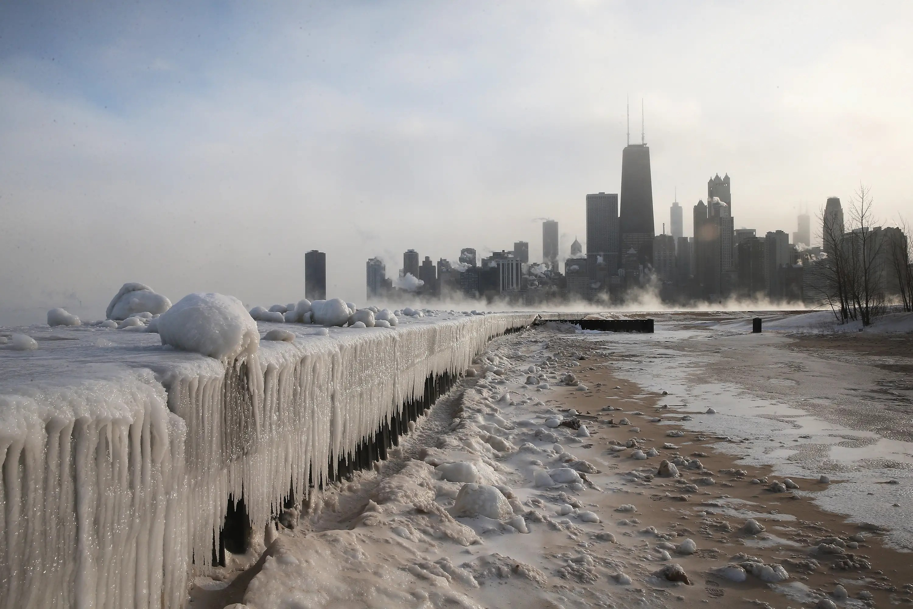 "The coldest weather in two decades hit the Midwest at the beginning of the year — this photo shows a wall of ice that built up around Lake Michigan. It does a great job of summing up the intense cold that earned Chicago the nickname ""Chiberia."""