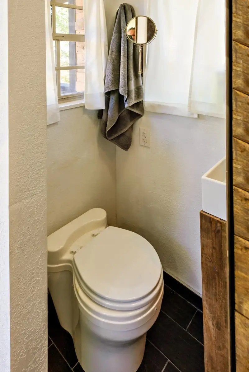 Miller's compost toilet cost $2,000, making it the most expensive thing in her house.