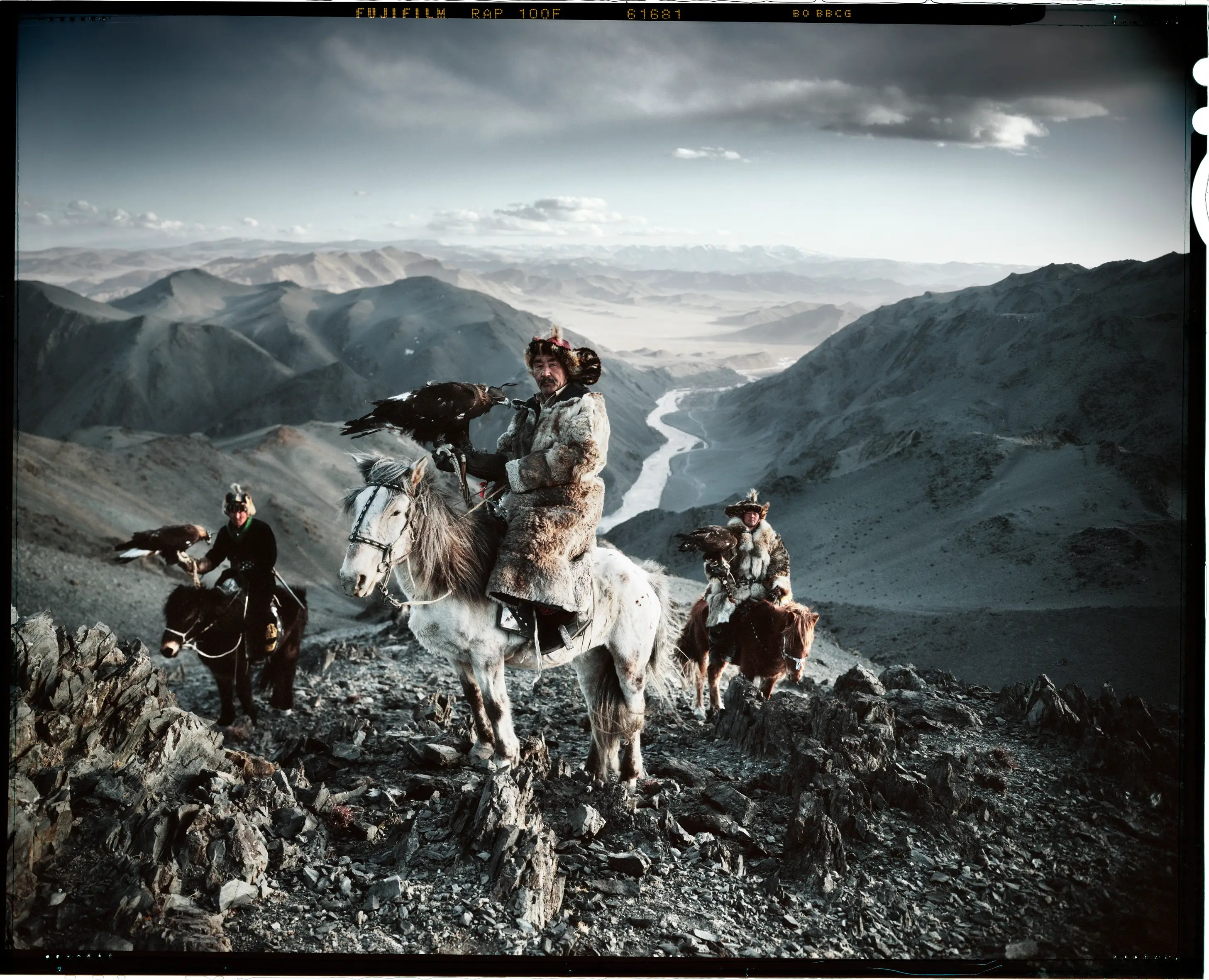 "Photographer Jimmy Nelson published a book called ""Before They Pass Away"" showing the vanishing tribes of the world. Here are three Kazakh men using eagles to hunt."