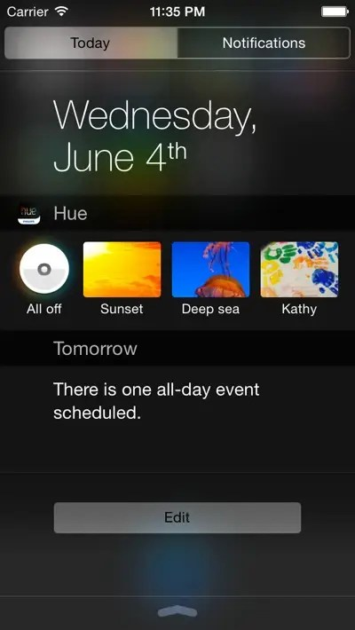 Philips Hue iOS 8 concept