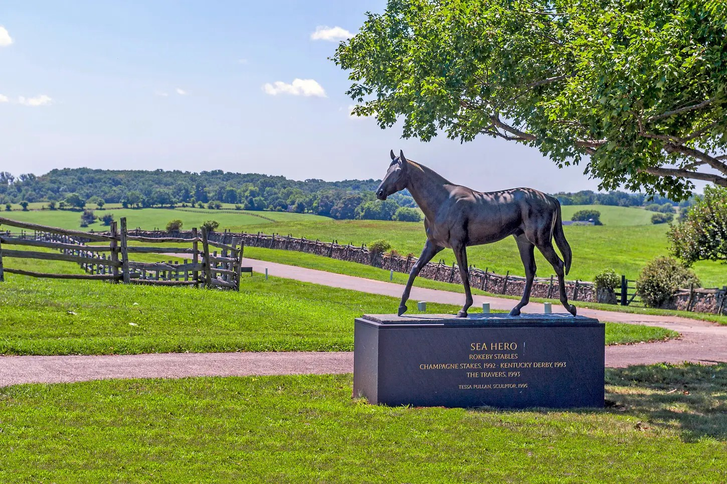 The Mellons also bred racehorses on the farm. There is a statue commemorating Sea Hero, their 1993 Kentucky Derby winner.